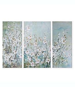Cuadro decorativo con diseño floral, 3 piezas