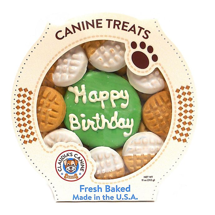 """Happy Birthday"" 11 Oz. Peanut Butter Dog Cookie Platter"