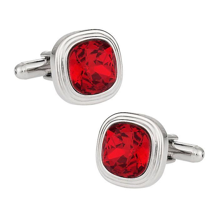 Alternate image 1 for Cuff-Daddy Silvertone Swarovski® Crystallized™ Cufflinks in Siam Red