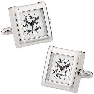 Cuff-Daddy Working Silver Rhodium Plated Watch Cufflinks