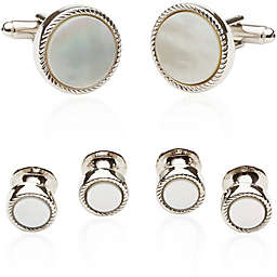 Cuff-Daddy Ribbed Mother of Pearl Silver-Plated Tux Cufflinks and Studs