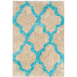 Safavieh Barcelona 2-Foot x 3-Foot Shag Accent Rug in Cream/Blue