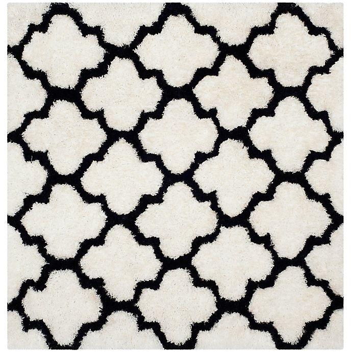 Alternate image 1 for Safavieh Barcelona 5-Foot Square Shag Area Rug in Ivory/Black
