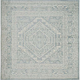 Safavieh Adirondack Traditional Floral 6' Square Area Rug in Slate
