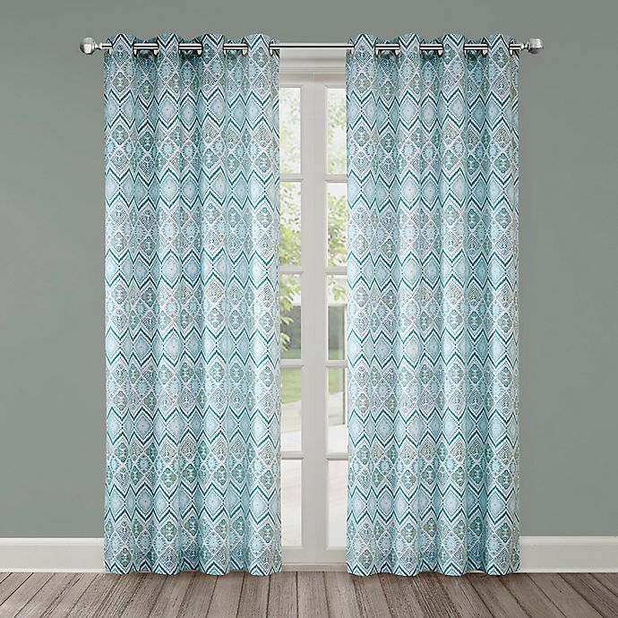 Alternate image 1 for Echo Triana 84-Inch Grommet Top Window Curtain Panel in Green