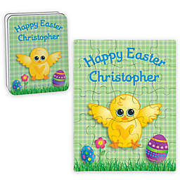 Chick Happy Easter Puzzle and Tin in Green