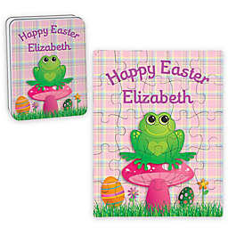 Frog Happy Easter Puzzle and Tin in Pink