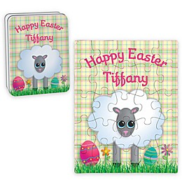 Sheep Happy Easter Puzzle and Tin in Yellow