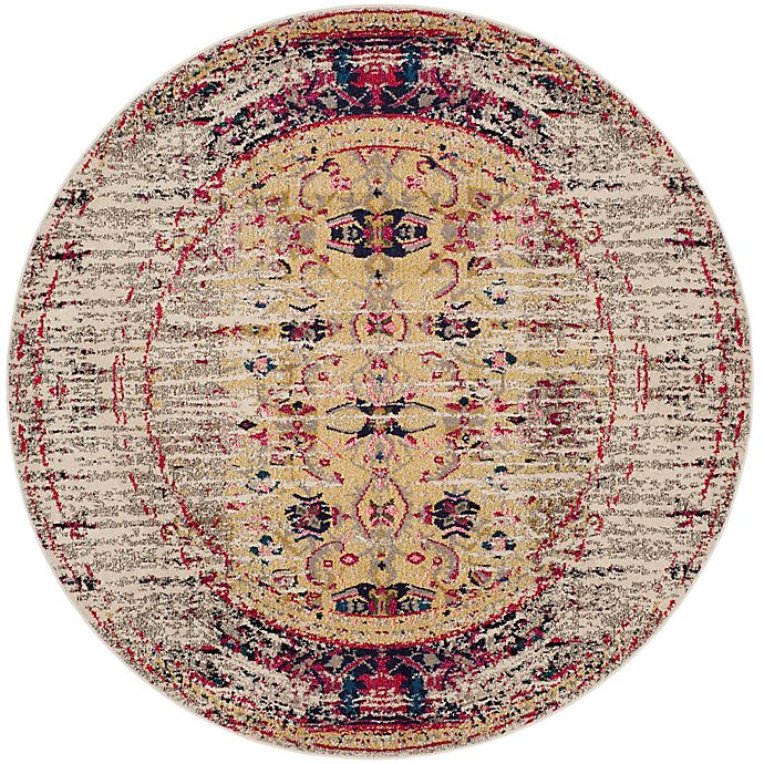 Alternate image 1 for Safavieh Monaco Timeo 5-Foot Round Area Rug in Ivory/Pink