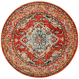 Safavieh Monaco Vintage Bohemian 5-Foot Round Area Rug in Orange/Light Blue