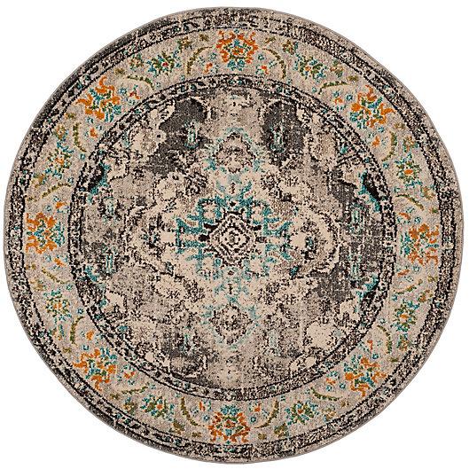 Alternate image 1 for Safavieh Monaco Vintage Bohemian 6-Foot 6-Inch Round Area Rug in Grey/Light Blue