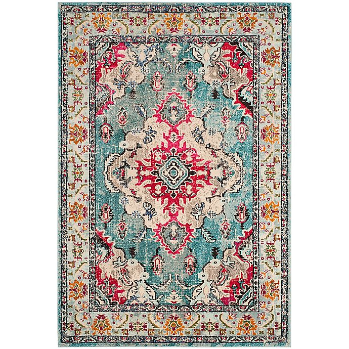 Alternate image 1 for Safavieh Monaco Vintage Bohemian 8-Foot x 10-Foot Area Rug in Light Blue/Fuchsia
