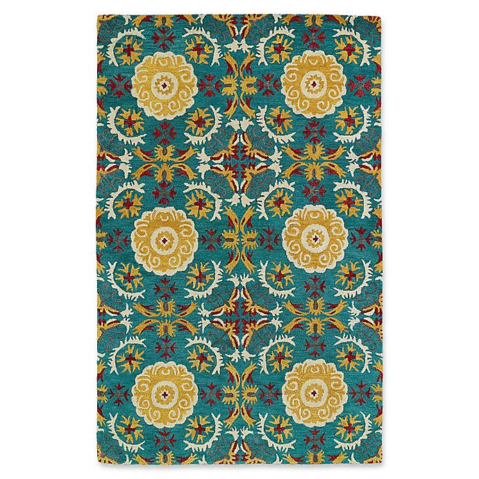 Alternate image 1 for Kaleen Global Inspirations Floral Tile 9-Foot x 12-Foot Area Rug in Turquoise