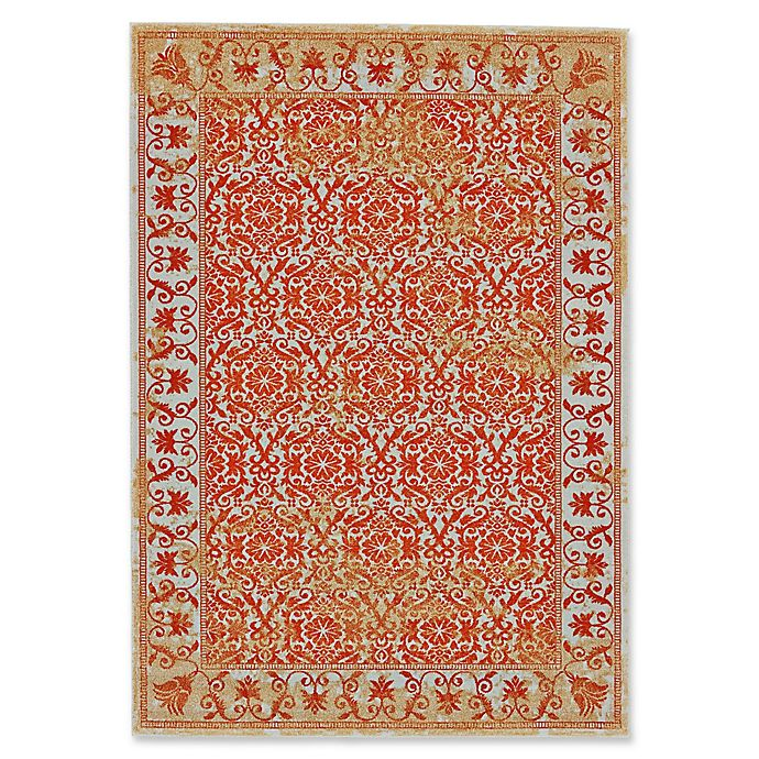 Alternate image 1 for Feizy Cassia Floral Border 2-Foot 10-Inch x 7-Foot 10-Inch Runner in Melon Orange