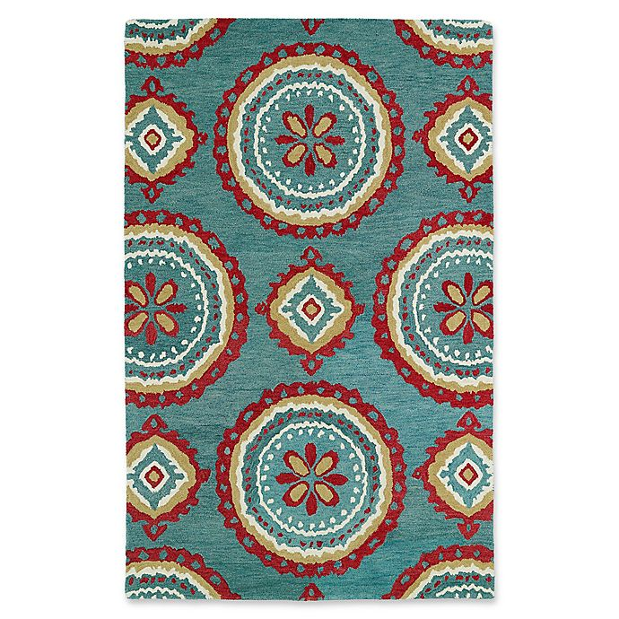 Alternate image 1 for Kaleen Global Inspirations Medallion 9-Foot x 12-Foot Area Rug in Teal