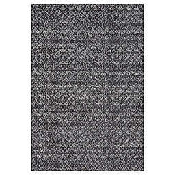 Feizy Settat Ikat Rug in Black/Dark Grey