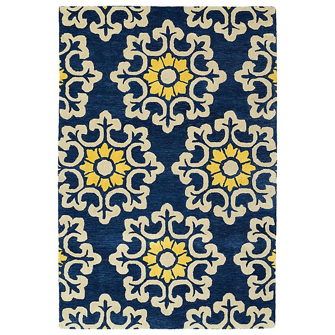 Alternate image 1 for Kaleen Global Inspiration Stencil 3-Foot 6-Inch x 5-Foot 6-Inch Rug in Blue