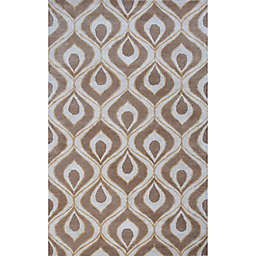 KAS Bob Mackie 3-Foot 3-Inch x 5-Foot 3-Inch Eye of Peacock Accent Rug in Beige