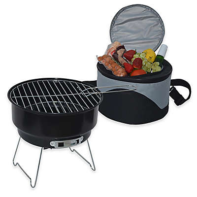 Picnic at Ascot BBQ Grill and Cooler Combo Set in Black