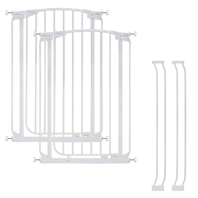 Alternate image 1 for Dreambaby® Chelsea Tall Auto Close Stay Open Security Gate in White (Set of 2)