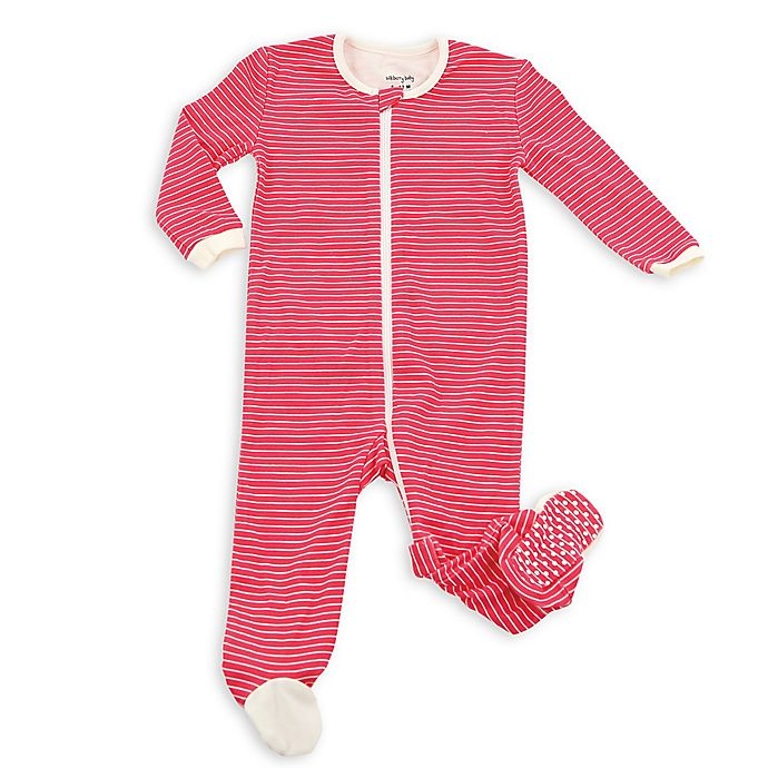 d1e7bf366a83 Silkberry Baby Striped Footie Pajamas in Red | Bed Bath & Beyond