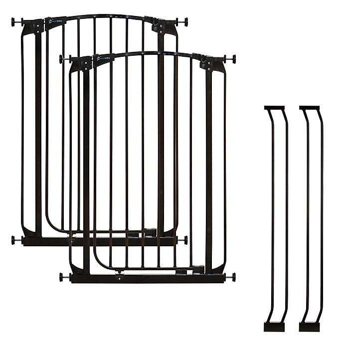 Alternate image 1 for Dreambaby® Chelsea Tall Auto Close Stay Open Security Gate in Black (Set of 2)