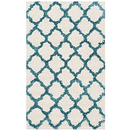 Safavieh Kids® Trellis Sketch Shag Rug in Ivory/Blue