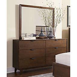 Mid-Mod 6- Drawer Dresser in Cinnamon