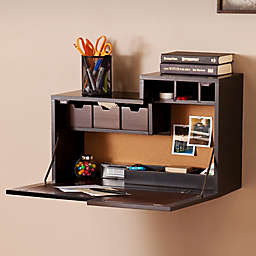 Southern Enterprises Dover Wall Mount Desk in Black/Brown