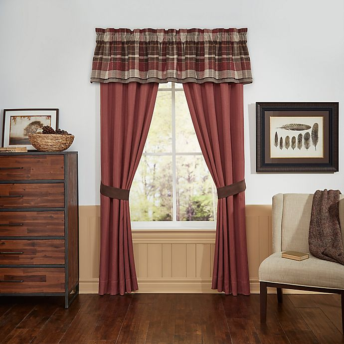 Alternate image 1 for Croscill® Kent 84-Inch Window Curtain Panel Pair in Red/Brown