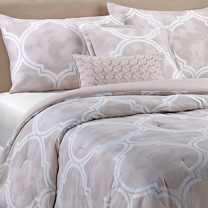 Alternate image 1 for Coral Lattice 5-Piece Comforter Set in Taupe