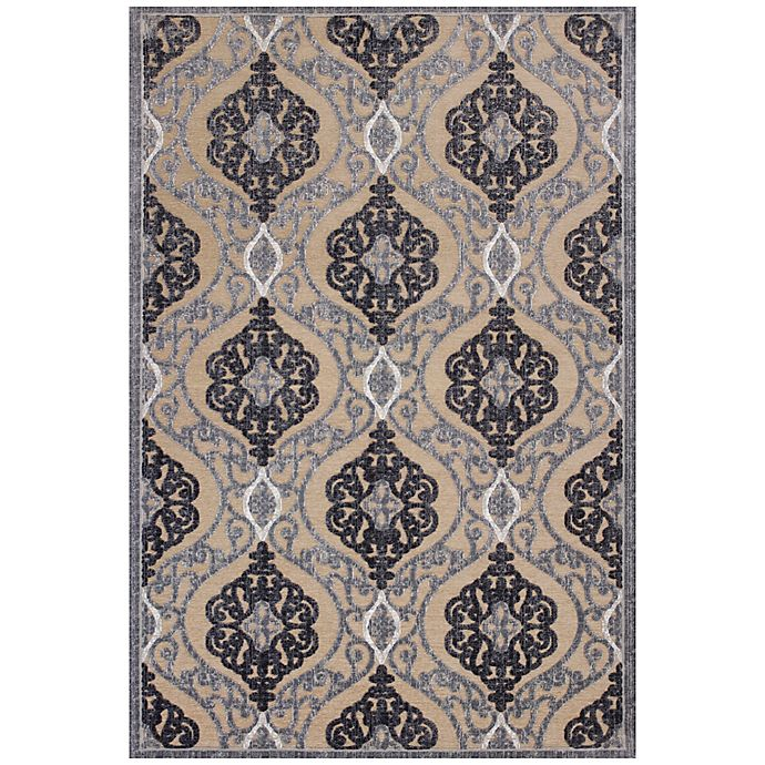 Alternate image 1 for KAS Anna Medallia 5-Foot 3-Inch x 7-Foot 7-Inch Area Rug in Sand/Grey