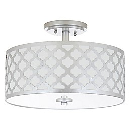 Safavieh Kora 3-Light Flush Mount Ceiling Fixture in Silver with Cotton Shade