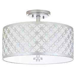 Safavieh Hutch 3-Light Flush Mount Ceiling Fixture in Silver