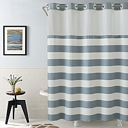 Hookless Cabana Stripe Shower Curtain in Blue