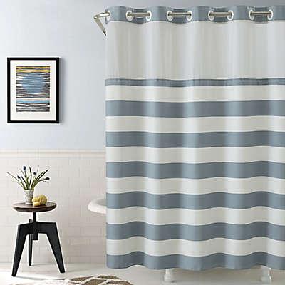 Hookless Cabana Stripe Shower Curtain in Blue