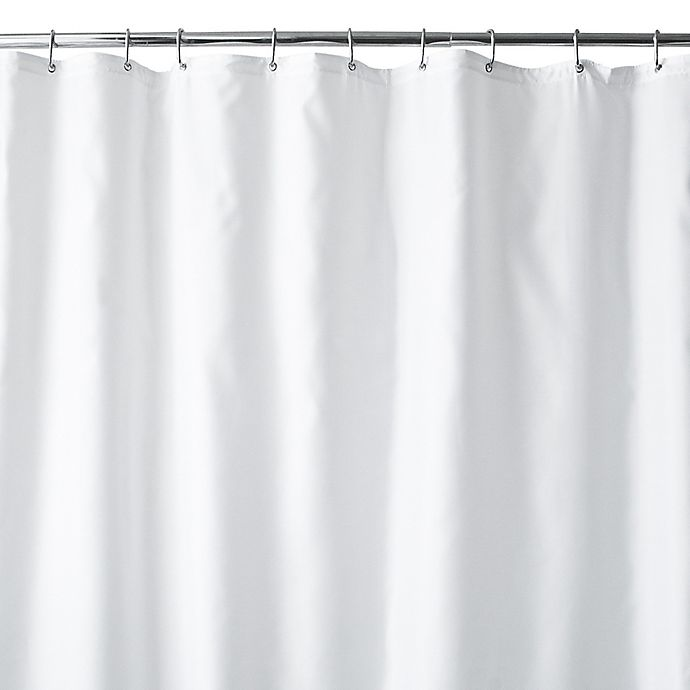 Alternate image 1 for Wamsutta® 70-Inch x 84-Inch Extra Long Fabric Shower Curtain Liner with Suction Cups in White