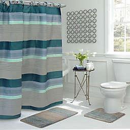 Regent Stripe 15 Piece Bath Bundle Set In Blue Grey