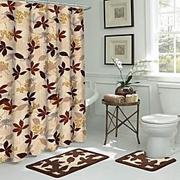 Blowing Leaves 15-Piece Bath Bundle Set in Brown