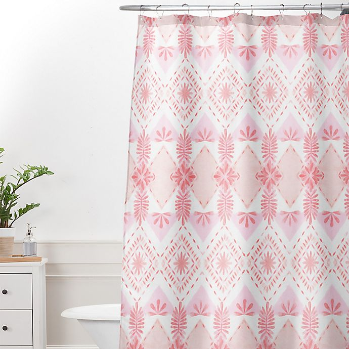 Alternate Image 1 For Deny Designs Dash And Ash Strawberry Picnic Shower Curtain In Pink