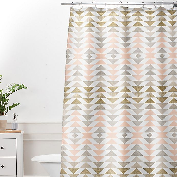 Alternate image 1 for Deny Designs Georgiana Paraschiv Metallic Triangles Shower Curtain in Gold