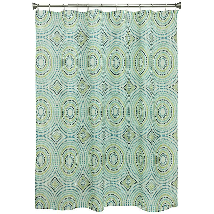 Alternate image 1 for Bacova Mosaic Circle Shower Curtain in Blue/Green