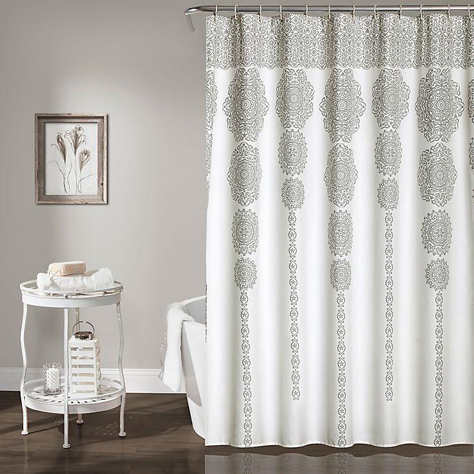 Alternate image 1 for Stripe Medallion 72-Inch Shower Curtain in Grey