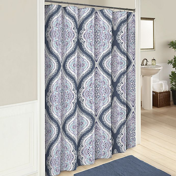 Alternate image 1 for Lotus 72-Inch Cotton Shower Curtain in Blue