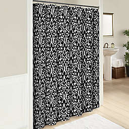 Hadley 72-Inch Cotton Shower Curtain in Black