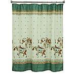 Bacova Boho Elephant Shower Curtain in Green/Beige