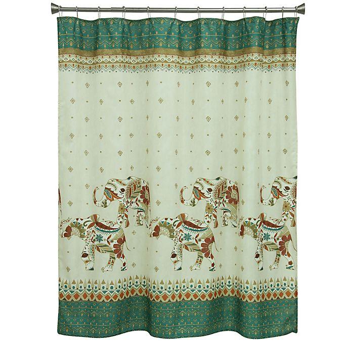 d2cfb8e2d5e Bacova Boho Elephant Shower Curtain in Green Beige