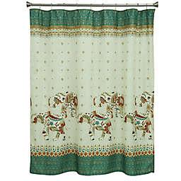 Bacova Boho Elephant Shower Curtain In Green Beige