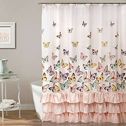 Flutter Butterfly Shower Curtain In Pink