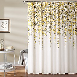 Weeping Flower 72-Inch Shower Curtain in Yellow/Grey